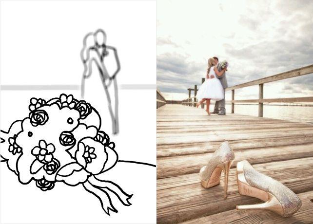 20 лучших поз для свадебной фотосессии, туфли на переднем плане жених и невеста на заднем