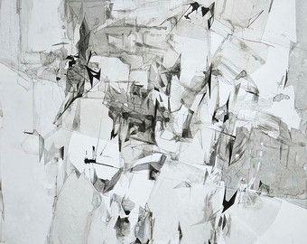 « glace 001 » / encre de Chine sur papier / 40 « x 28 » (100 x 70 cm) / 2016  C'est mon dessin original de la dernière série « glace », en 2016.  Le travail a été fait en couleurs achromatiques de blancs, différentes teintes de gris jusquau noir. Présente un style modern de lart.  Signé « dj 2016 » sur le devant de l'ouvrage et « dorota jedrusik 2016 » sur le dos. Prêt à expédier jusquà 5 jours ouvrables forme la commande est passée.  Dessin est livré sans cadre, livraison dans un tube…