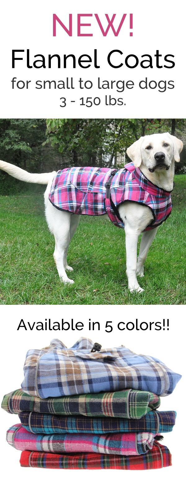 Flannel dog coats for small to large dogs.