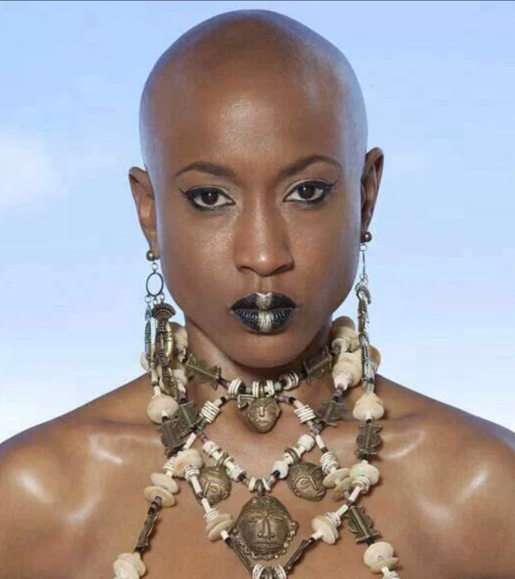 ... woman with unique jewelry | Bald, Short, TWA or Gray Hair styles