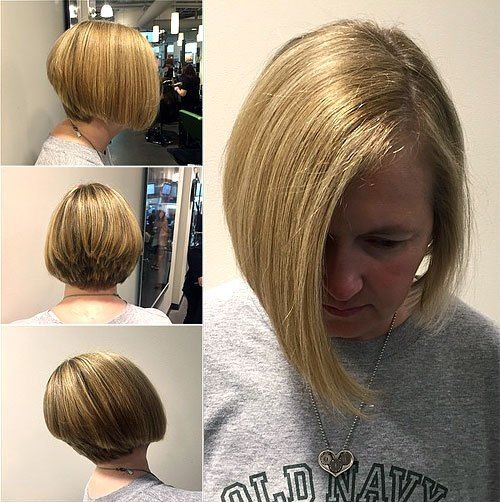 stunning stacked asymmetrical blonde bob