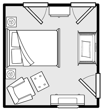 guest room/ nursery layout. something similar may work