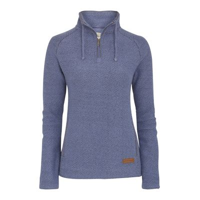Geranium 1/4 Zip Macaroni Sweatshirt A faithful classic 1/4 zip macaroni sweatshirt. Iconic textured fabric which is durable and doesn't crease. Featuring twisted detailing on the collar and side pocket edges. Plain lined cuffs so they can be turned up, and leather branded badge on hip.