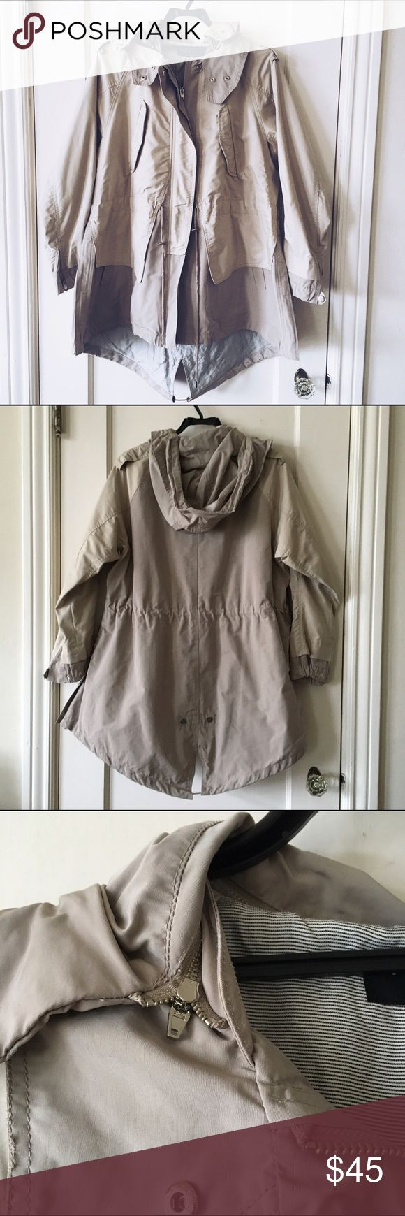 Sisley Tan Rain Parka Jacket Great jacket to use in rain or snow. Very heavy and has a removable hood. In great condition, just a little too big for me. Made by Sisley and purchased abroad. Size 44 Fits like a large medium. Sisley Jackets & Coats Trench Coats