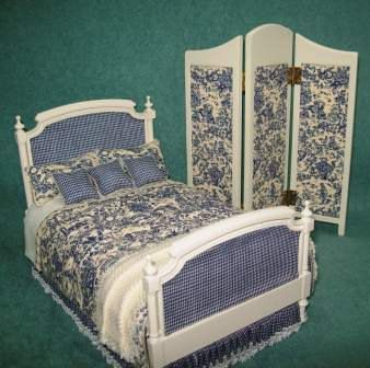 Miniature French Toile Custom Dressed bed with Screen.  from HartsDesireMinis on Etsy