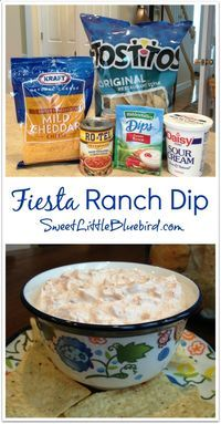 Fiesta Ranch dip. 1 packet Hidden Valley Fiesta Ranch dip, 10 ounce can Rotel Original (drain excess liquid), 16 oz sour cream, and 1 cup finely shredded cheddar cheese. Mix all ingredients in a medium size bowl. Chill in fridge for 1 hour. Goes great with chips or veggies..... I'm gonna use Greek yogurt instead of sour cream
