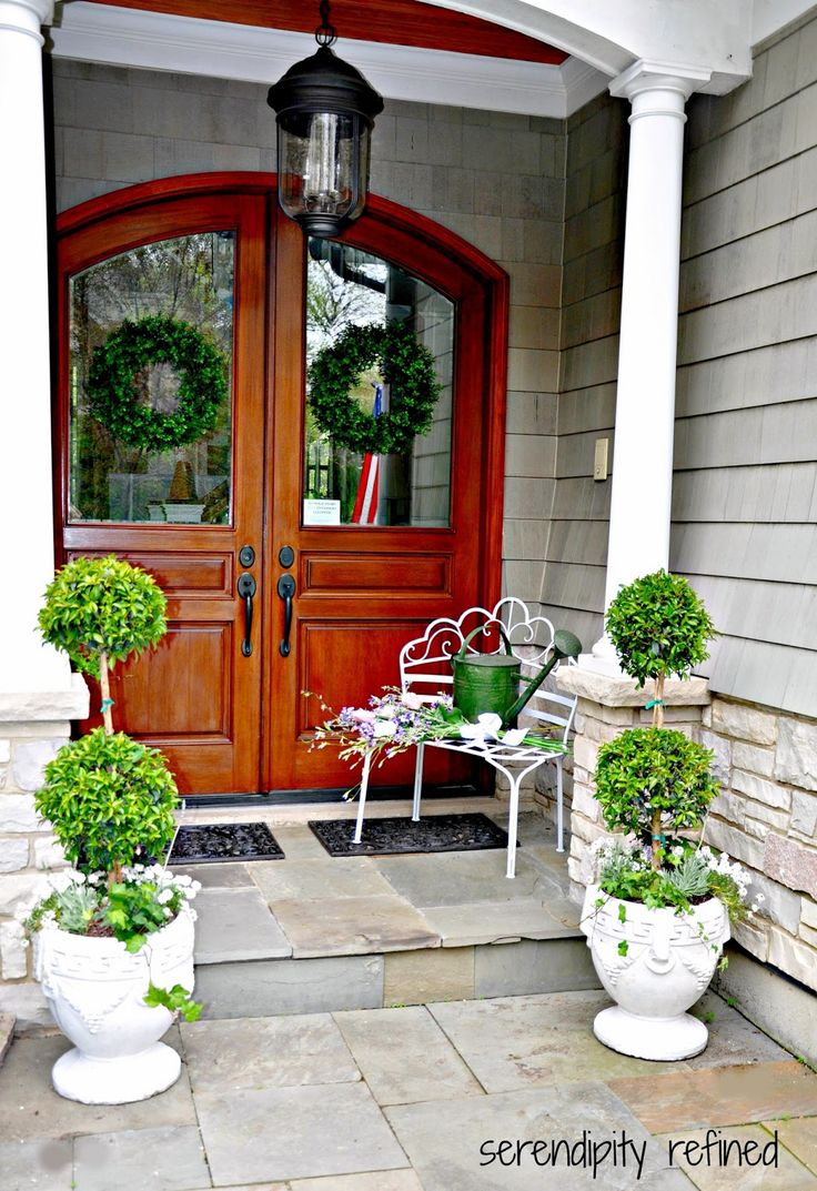 Front door ideas summer - Double Front Doors With Stone Porch Front Porch Decoration With Walnut Wood Etched Glass Double