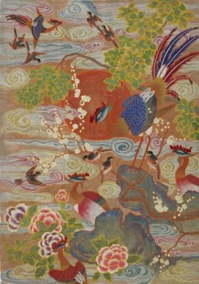 bird and playing with the Phoenix / Color on korean paper, 2014 / 125 x 180 cm (49.2 x 70.9 inch)