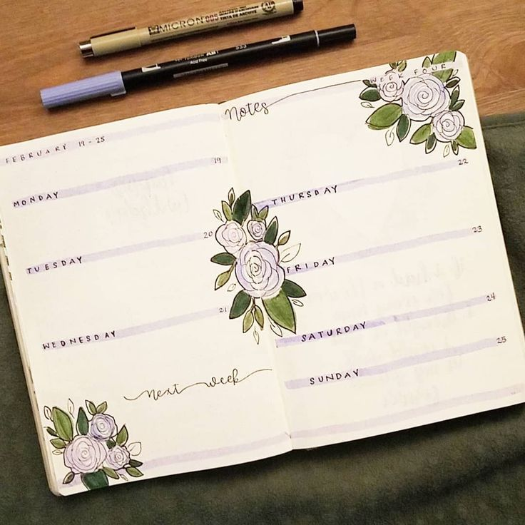 Bullet journal weekly layout,  highlighted daily headers, rose drawing. | @shouthuzzahdoodles