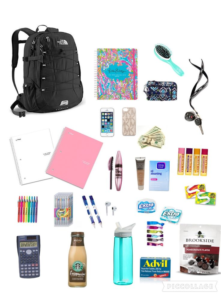 Northface backpack school essentials preppy makeup notebooks coffee camelbak water lip balm, etc