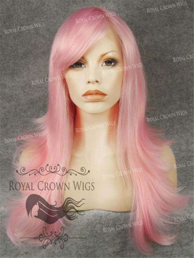 Synthetic Straight with bang in Pink - Non Lace