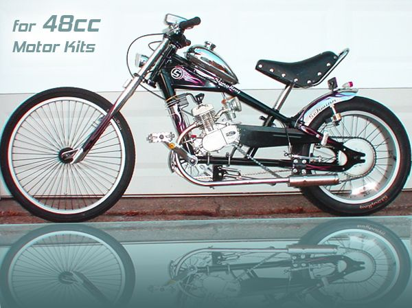 Schwinn Stingray OCC Chopper Build Out Package + 48cc 2 Cycle Center Mount Speedster Bicycle Motor Kit - Standard Clutch - Live Fast Motors