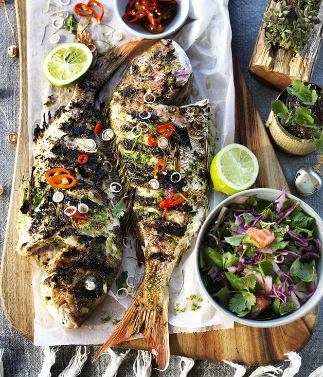Barbecued Whole Fish - ginger, garlic, coriander roots and loads of citrus are all smashed up together and spread over the fish.