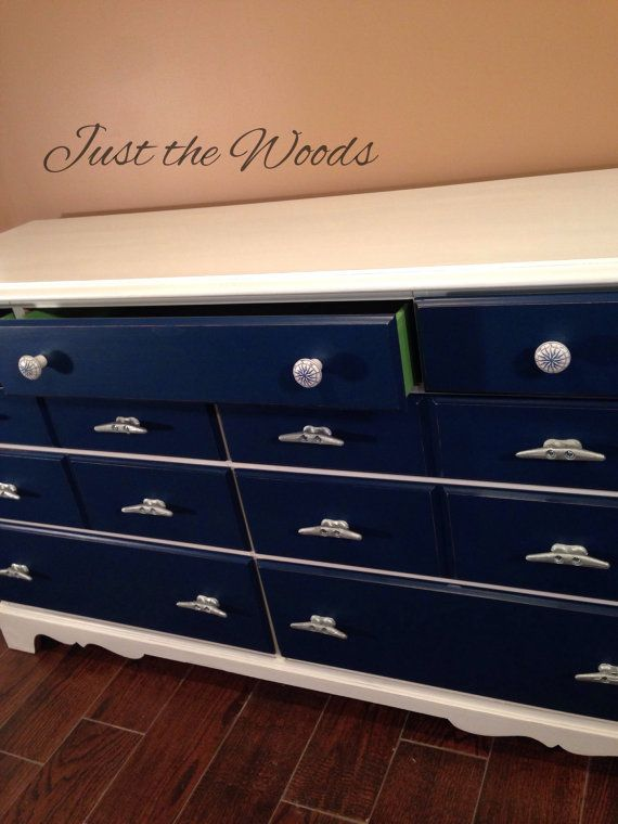 SOLD solid wood nautical dresser by Justthewoods on Etsy...what a wonderful cabinet! Love the navy paint, compass and cleat handles...she lined the drawers with maps. Brilliant!