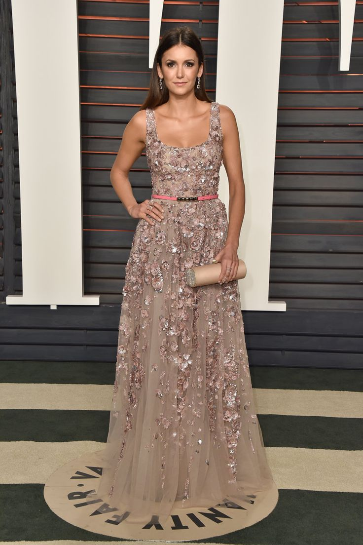 Vanity Fair Party 2016. Nina Dobrev in Elie Saab