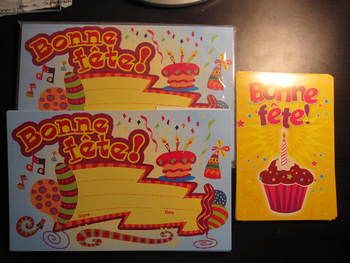 67 new cards to celebrate your students' birthday. Shipping is included in the price. -One set of 25 BONNE FETE cards is sealed + 23 more new BONNE FETE cards measuring 8.75x 5.5 inches -19 postcards BONNE FETE with cupcake and candle (has postcard format on back).
