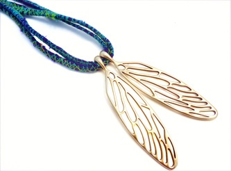 Handmade 9ct yellow gold cicada wings on silk cord by Studio Swoon... yummy...