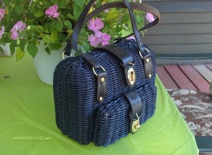 RESERVED for Julia - Unique Blue Vintage Coated Wicker Basket Weave Handbag…