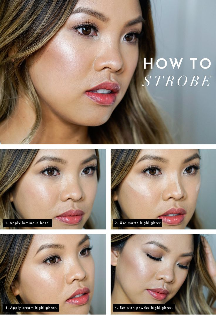 """Get dewey, glowing skin in four steps with this simple """"How To Strobe"""" tutorial! Blogger Beauty-Vanity.com explains how to layer Target makeup favorites—like NYX Born to Glow Liquid Illuminator, NYX Highlight & Contour Pro Palette, Sonia Kashuk Chic Defining Contour Stick and more—to get the look! http://beauty-vanity.com/blog/san-francisco-beauty-blog-how-to-strobing-tutorial/"""
