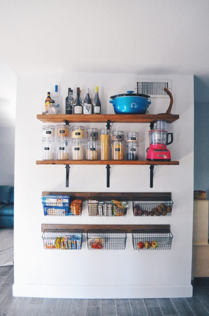 Space Saving Shelving On A Bare Wall Kitchen Storage In 2019
