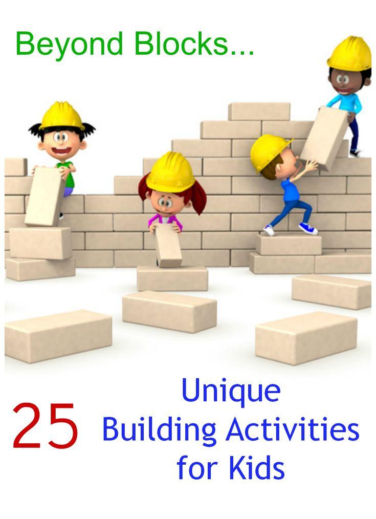 25 Unique Invitations to Build! Fun building activities for kids beyond blocks . Build with styrofoam, sugar cubes, orange peels, corks, etc..