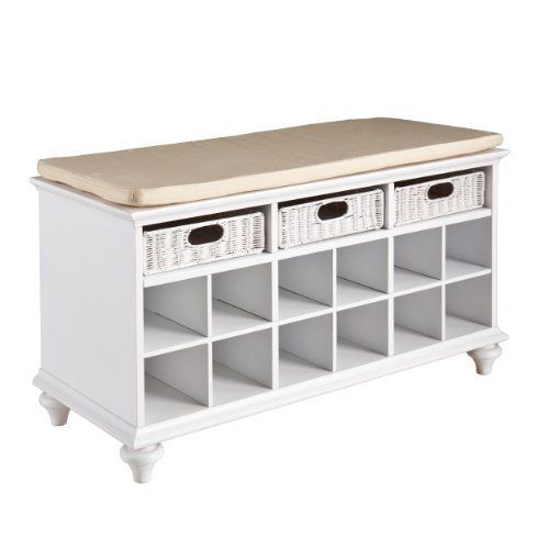 southern enterprise chelmsford entryway shoe bench in white finish new