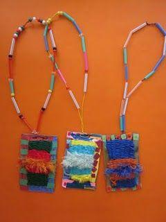 Grade 2 jewelry  http://lakeforestartdepartment.blogspot.com/2011/05/second-grade-weavingsjewelry.html