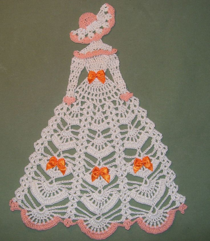 New Hand Crocheted Crinoline Lady Doily 11 x 8 in Cream Peach Orange | eBay