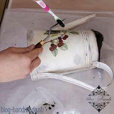 Декупаж лейки фото:как сделать красивый декор с кракелюром