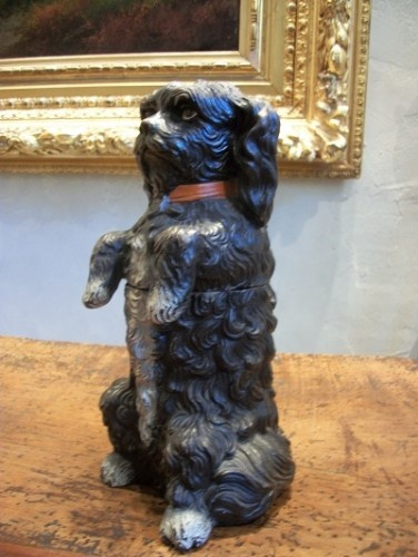 Antique Spaniel terracotta humidor, German, 19th century ...