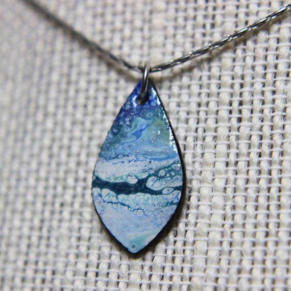 Ocean Waves Acrylic Pour Art Paper Rain Drop Necklace