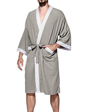 f9b32766e9 Earlish Men s Kimono Robe Soft Cotton Knit Waffle Weave Knee Length Spa Robe  Review