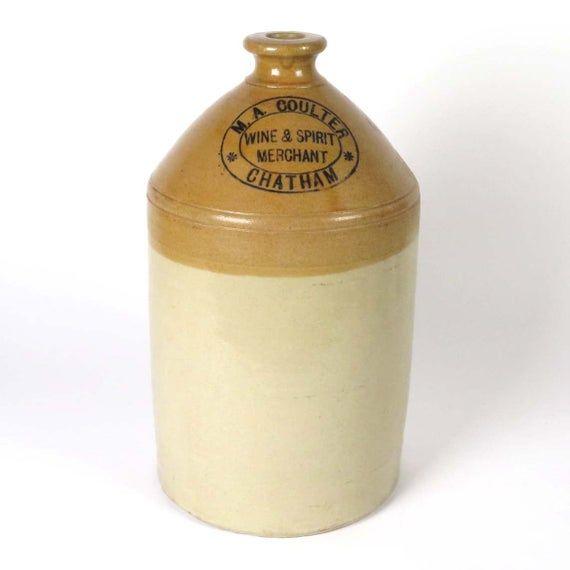 Vintage English Stoneware Flagon Jug M A Coulter Wine Spirit Merchant Chatham Crock In 2020 Stoneware Antique Stoneware Crock