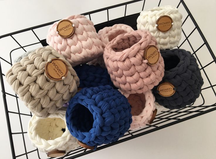 Mini crochet baskets 7x7cm. Perfect for any room you the house.