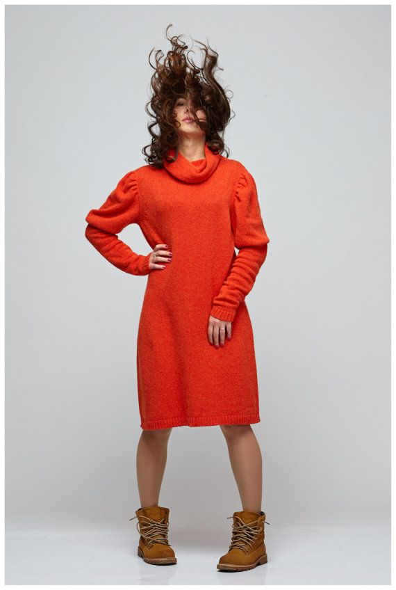 Red dress with little puffed sleeves and by GenuineWoolheart
