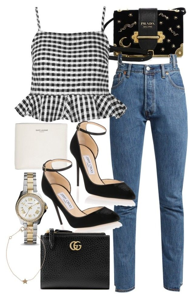 """""""Untitled #21692"""" by florencia95 ❤ liked on Polyvore featuring Prada, Vetements, Yves Saint Laurent, Topshop, Jimmy Choo, FOSSIL, Gucci and Kismet"""
