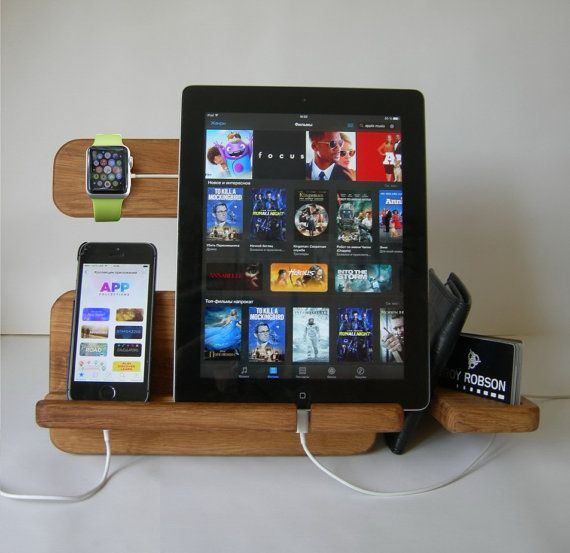 Apple Watch Stand, Docking Station, Charging Station, Anniversary Gifts for Men, Fathers Day Gift, Cable Organizer, iPhone, iPad, BlackBerry