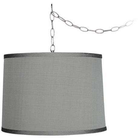 """Light for living room?    Platinum Grey 14"""" Wide Brushed Steel Swag Chandelier  Style # W2813-96962  $79.99 at Lamps Plus"""