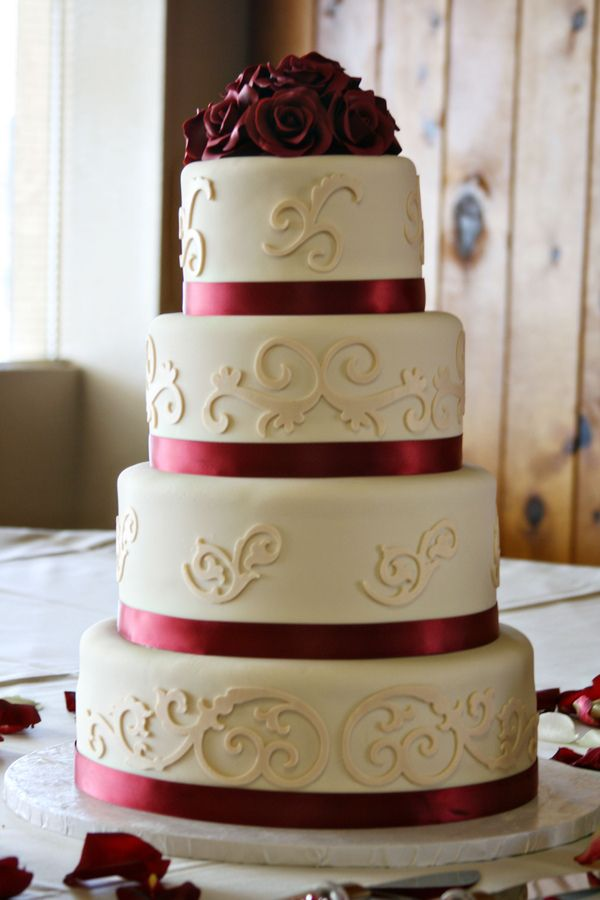 burgundy wedding | Ivory and Burgundy Wedding Cake — Round Wedding Cakes