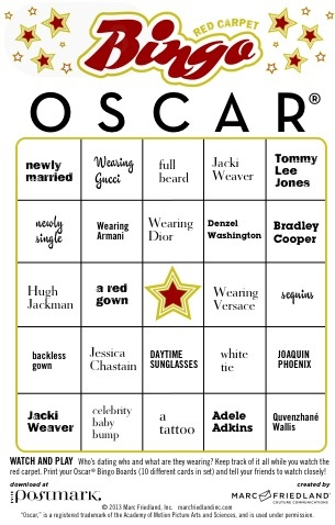 Oscar night Bingo PDF printable http://marcfriedlandinc.com/TheOscarsRedCarpetBingo.pdf