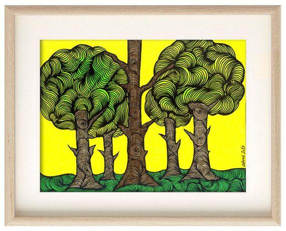 Trees, Art print, art poster, wall art, Home decor, Drawing, Professional Digital print, Wall decor, wall decal, illustration, ArtChromata