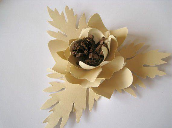 Set of 3 Beige Paper Flowers Beige Wedding by ThePurpleDream