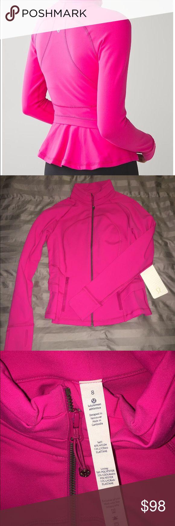Lululemon Hustle in Your Bustle Jacket NWT 8 Beautiful pink peplum zip up jacket. Cuter than the define IMO. Cheaper on Ⓜ️ :) lululemon athletica Jackets & Coats
