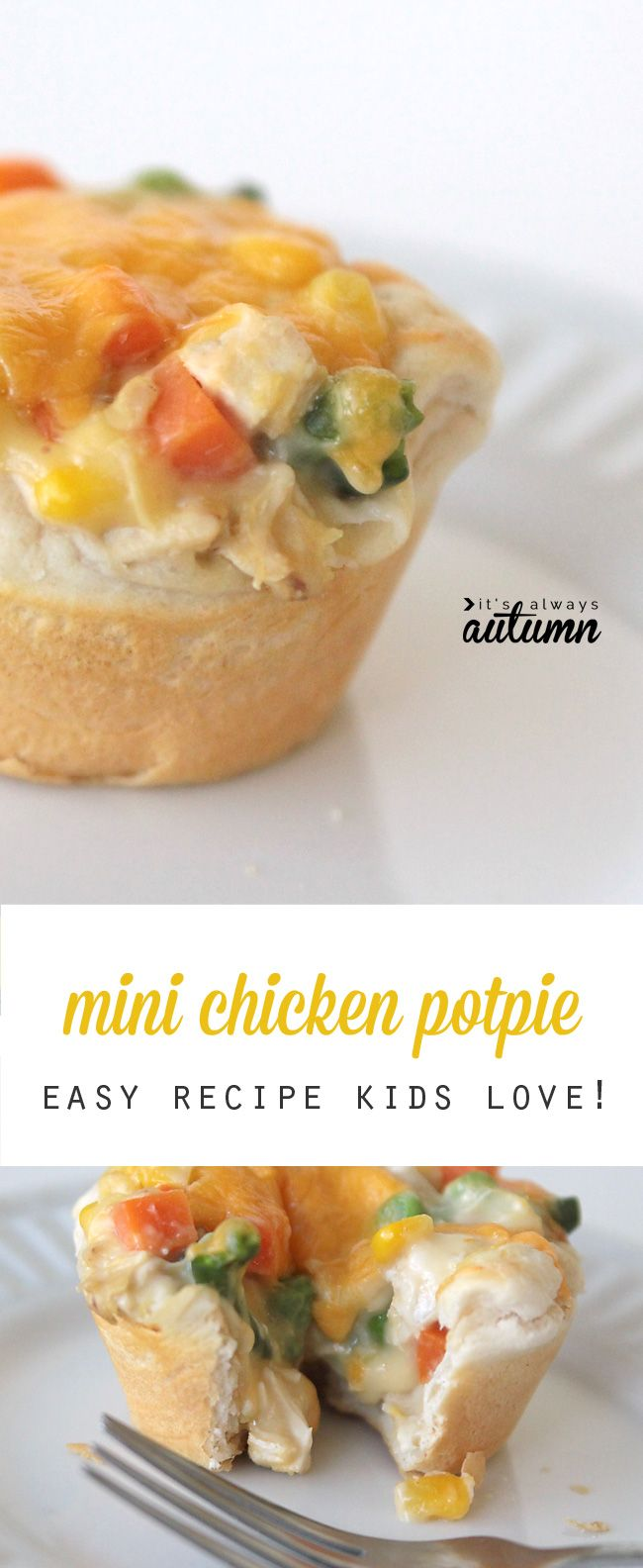 Kids will love these cute mini chicken potpies - even adults like them! Easy dinner recipe. #sp