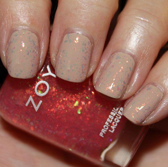 Neutral Nail Color Plus Subtle Glittter Makeup Nails