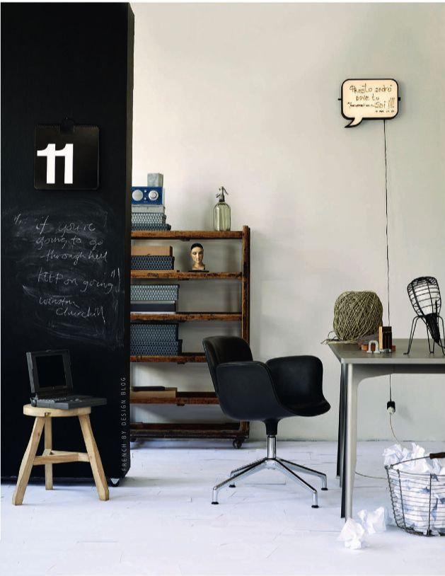 photo by http://www.palookaville.no/photographer/siren-lauvdal: Kitchens Design, Offices Spaces, Chalkboards Paintings, Work Spaces, Workspaces, Design Kitchen, Design Home, Home Offices, Chalkboards Wall