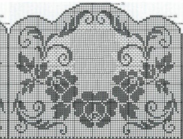 Floral filet crochet chart. Could make a nice window hanging or combined with other things to make a table runner.