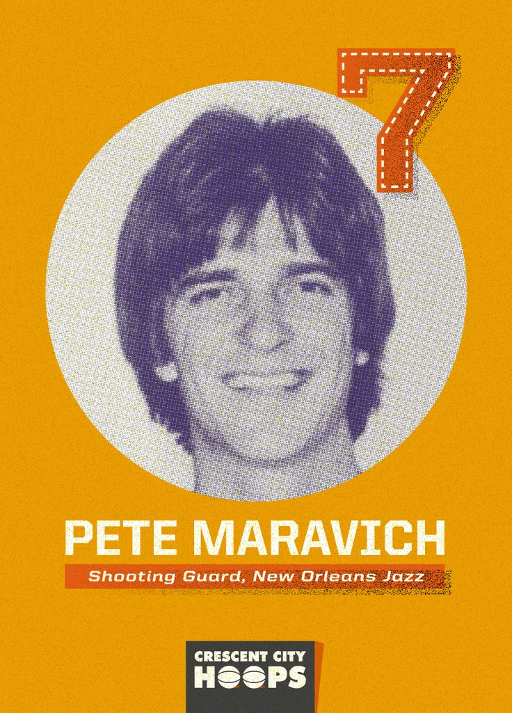 Pete Maravich, Four-time New Orleans Jazz All-Star. More on Pete and New Orleans Pro Basketball History at CrescentCityHoops.com. #pistolpete #neworleans #jazz #basketball #history