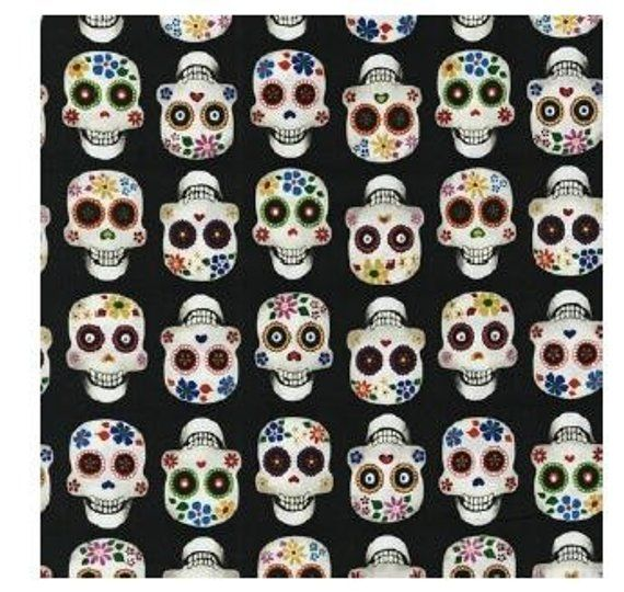 Fabric Day of the Dead Skulls /& Zombies on Black Cotton By The 1//4 yard BIN
