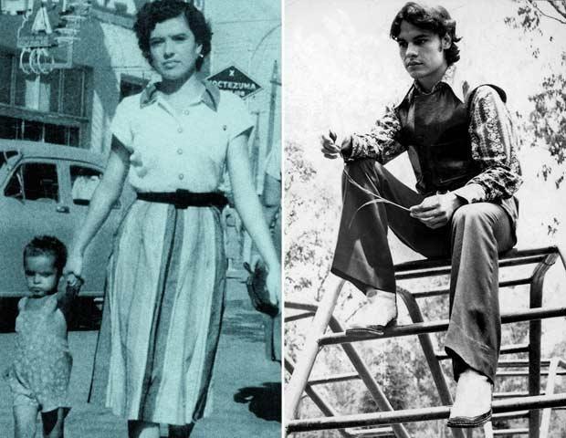 En la imagen de la izquierda Juan Gabriel con su hermana Virginia en Ciudad Juárez; Juan Gabriel a los 17 años de edad.